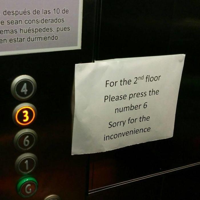 Para ir a la 2ª planta, presione el nº 6