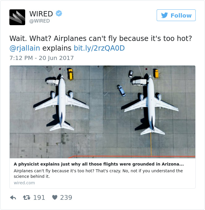 Airplanes Can't Fly Because It's Too Hot