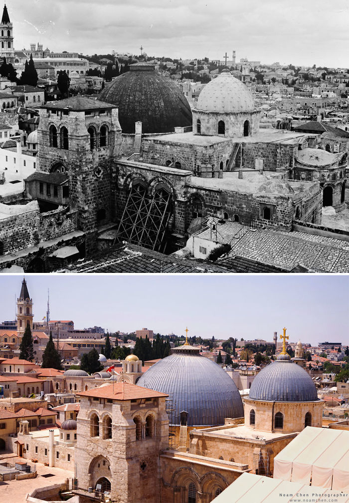 Rooftops Of The Christian Quarter: Dominated By The Two Domes Of The Church Of The Holy Sepulchre, One Of The Holiest Sites In Christianity, Believed To Be Where Jesus Was Crucified, Buried And Resurrected