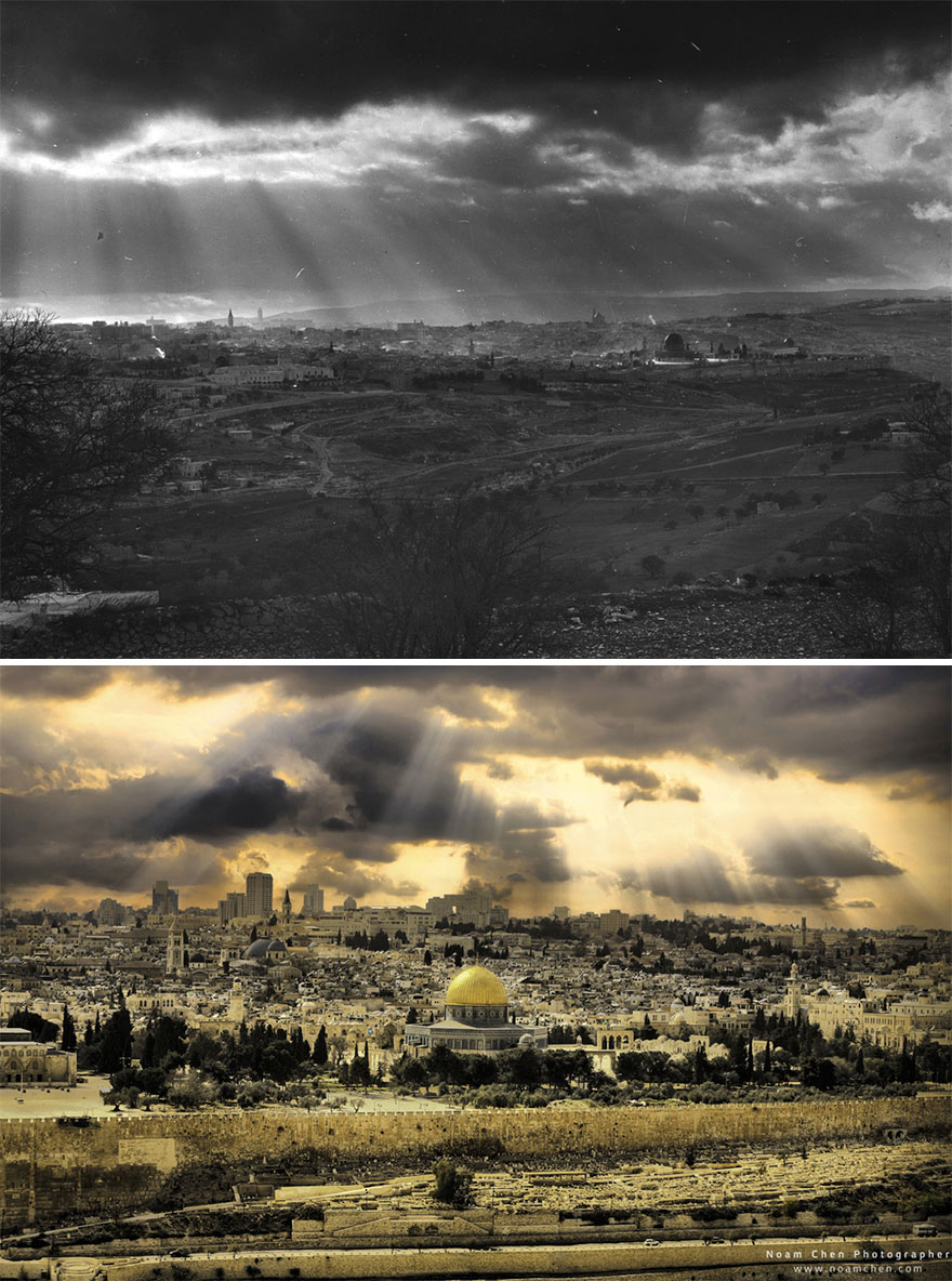 View Of The Old City. Some Things Never Change… Rays Of Light Shining Upon Jerusalem's Old City