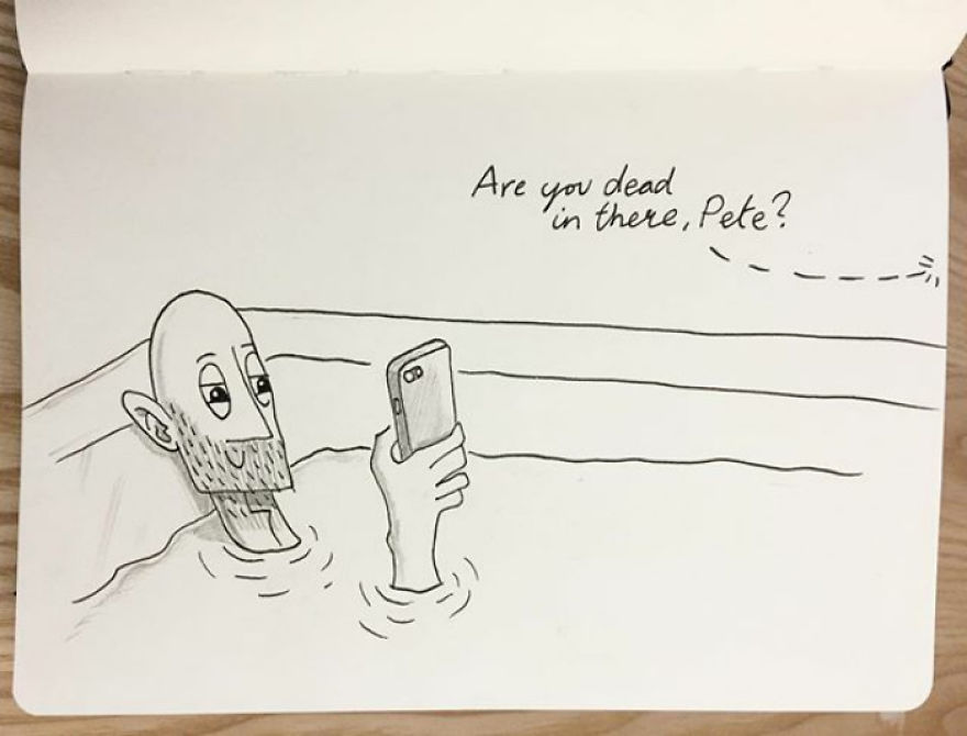 Pete Spends So Long In The Bath Reading His Phone That Kellie Wonders If He's Dead