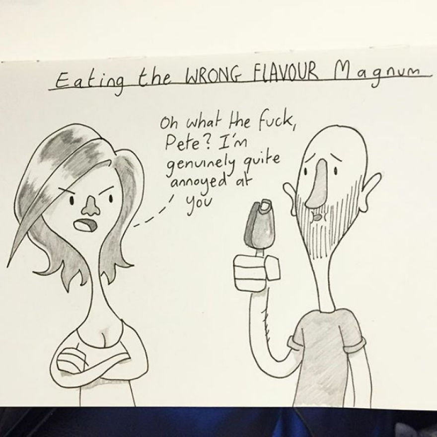 We Bought Two Multipacks Of Differently Flavored Magnum Ice Creams. Kellie Lost Her Shit When I Ate One Of 'her' Ones