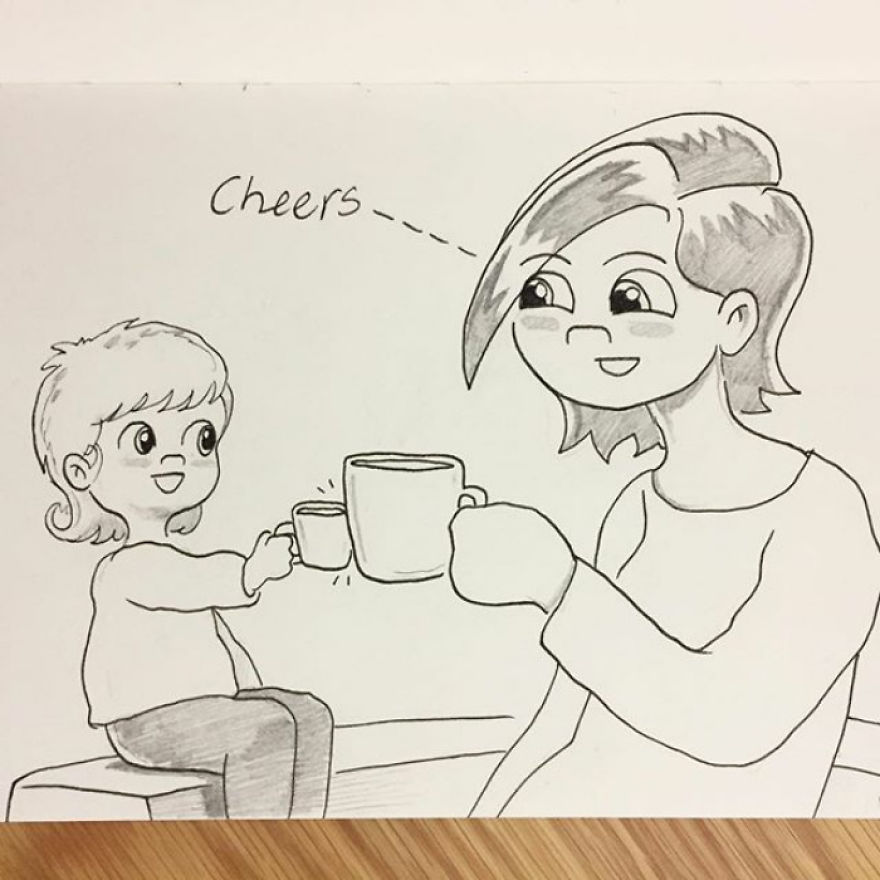 If You Say 'cheers' To Poppy When She Has A Drink She'll Clink Her Cup With Yours. It's Super Adorable