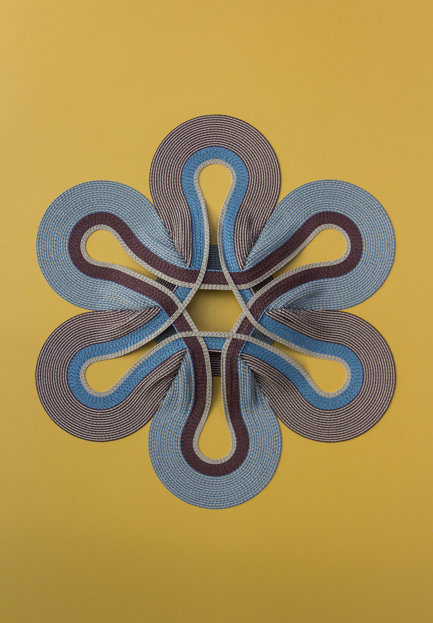 Geometric 3d Paper Tapestries Made With Curled Paper Strips