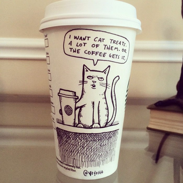 i draw cartoons every day sometimes on coffee cups