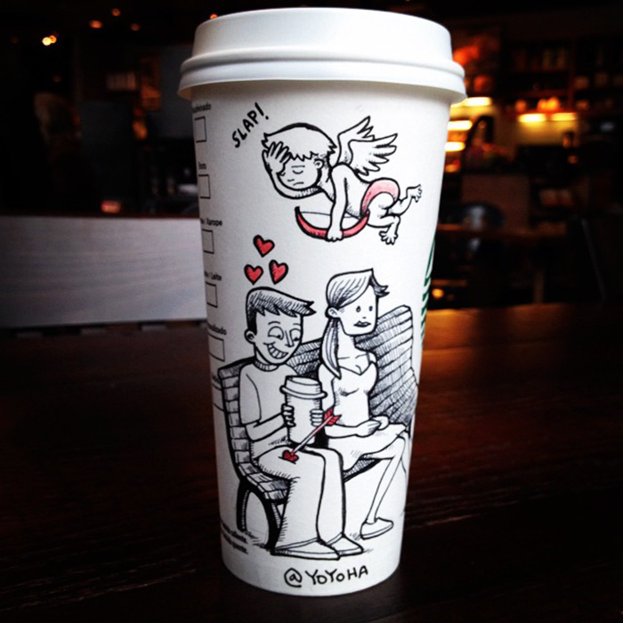 I Draw Cartoons Every Day, Sometimes On Coffee Cups