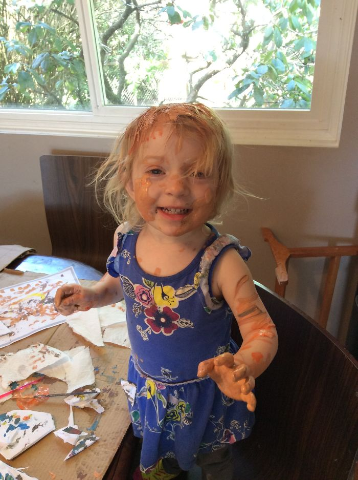 Painting With Acrylic Paints, Left For A Minute To Help Son In Washroom. Returned To This