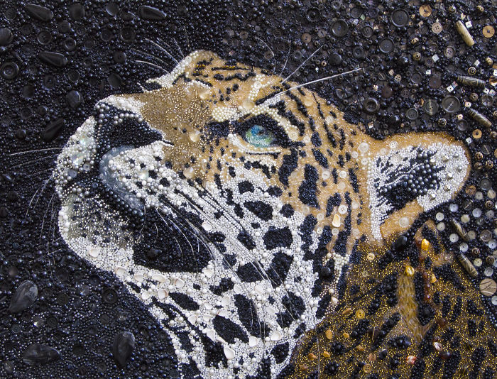 I Created This Leopard Using Just Beads And Buttons