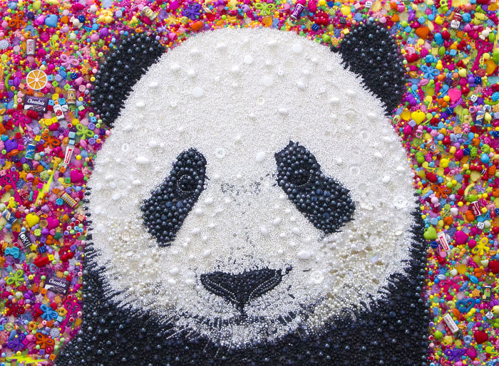 I Created This Panda Using Just Beads And Buttons