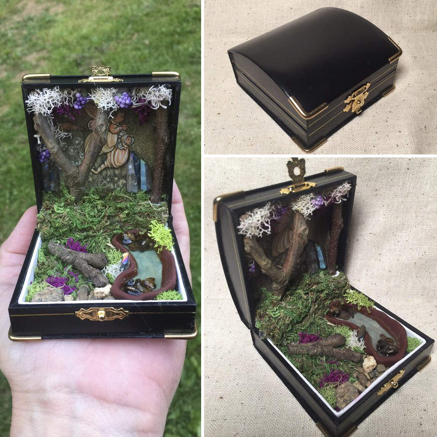 I Make Woodland Jewelry Box Dioramas
