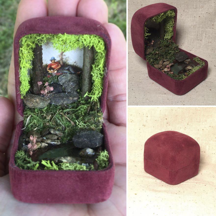 I Make Woodland Jewelry Box Dioramas
