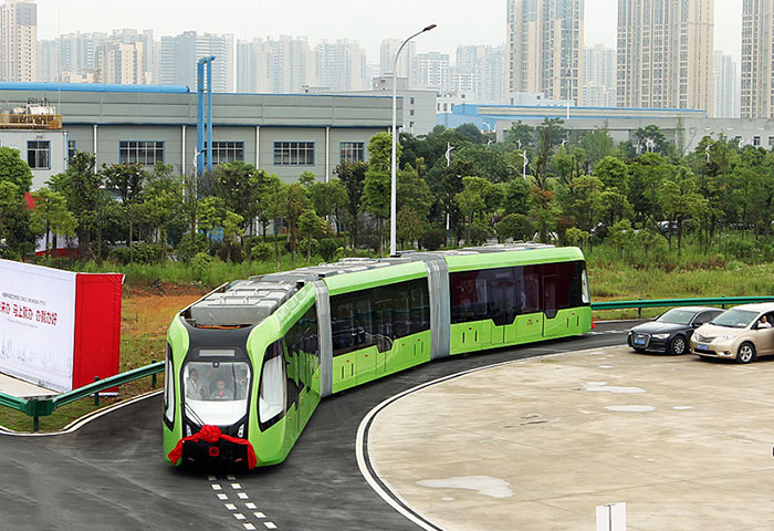 China Just Unveiled A Driverless Train That Uses White Painted Lines Instead Of Rails
