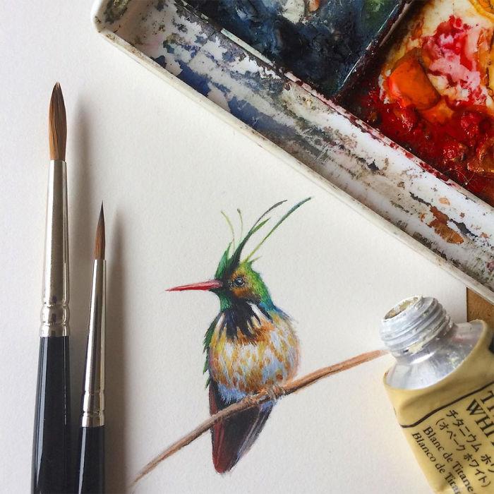 Artist Makes Paintings Of Miniature Birds