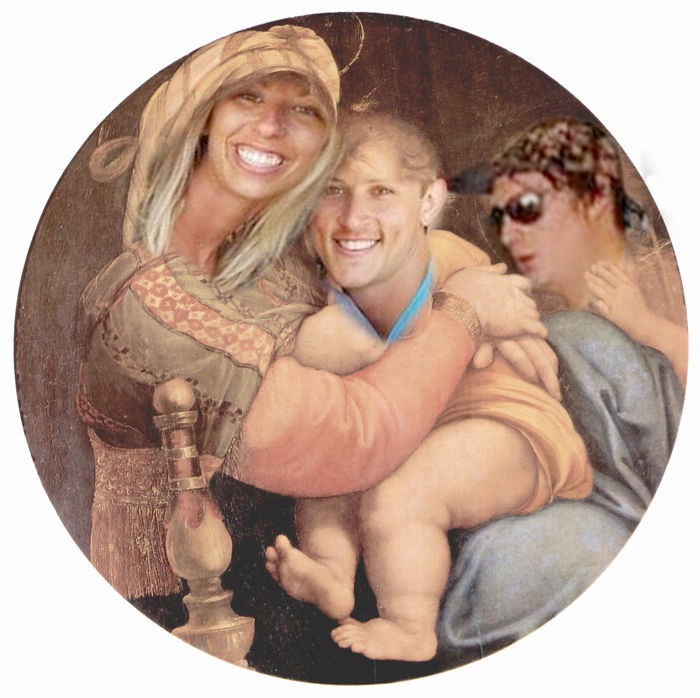 Ashley As The Madonna With Infant Fiance And Rotund Dude