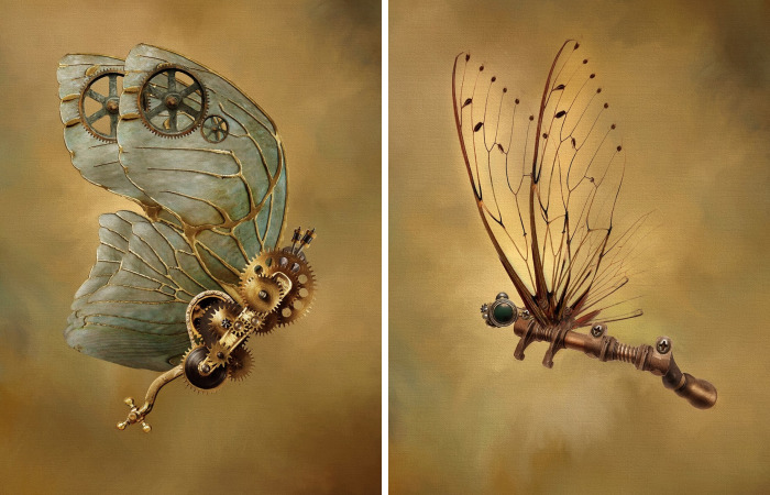 This Digital Artist Creates Ethereal Images Of Steampunk Butterflies And Dragonflies
