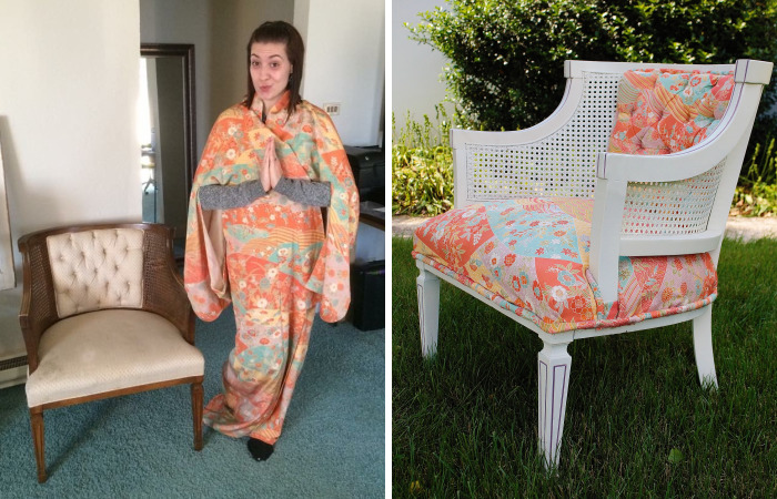 I Covered Cane Back Chair In My Japanese Kimono
