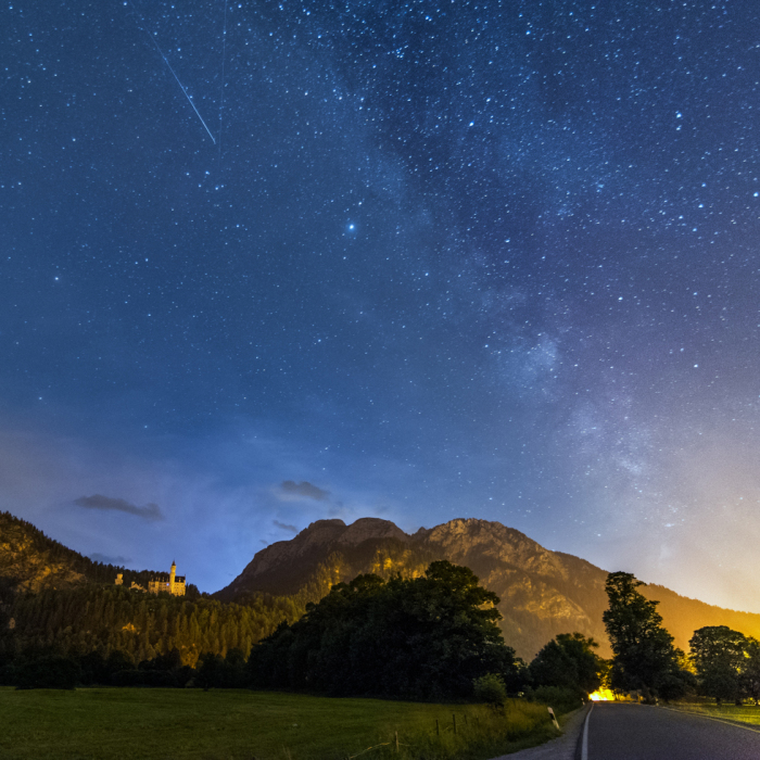 Milk Way, Lightning And Meteor Over Neuschwanstein Castle Early This Morning
