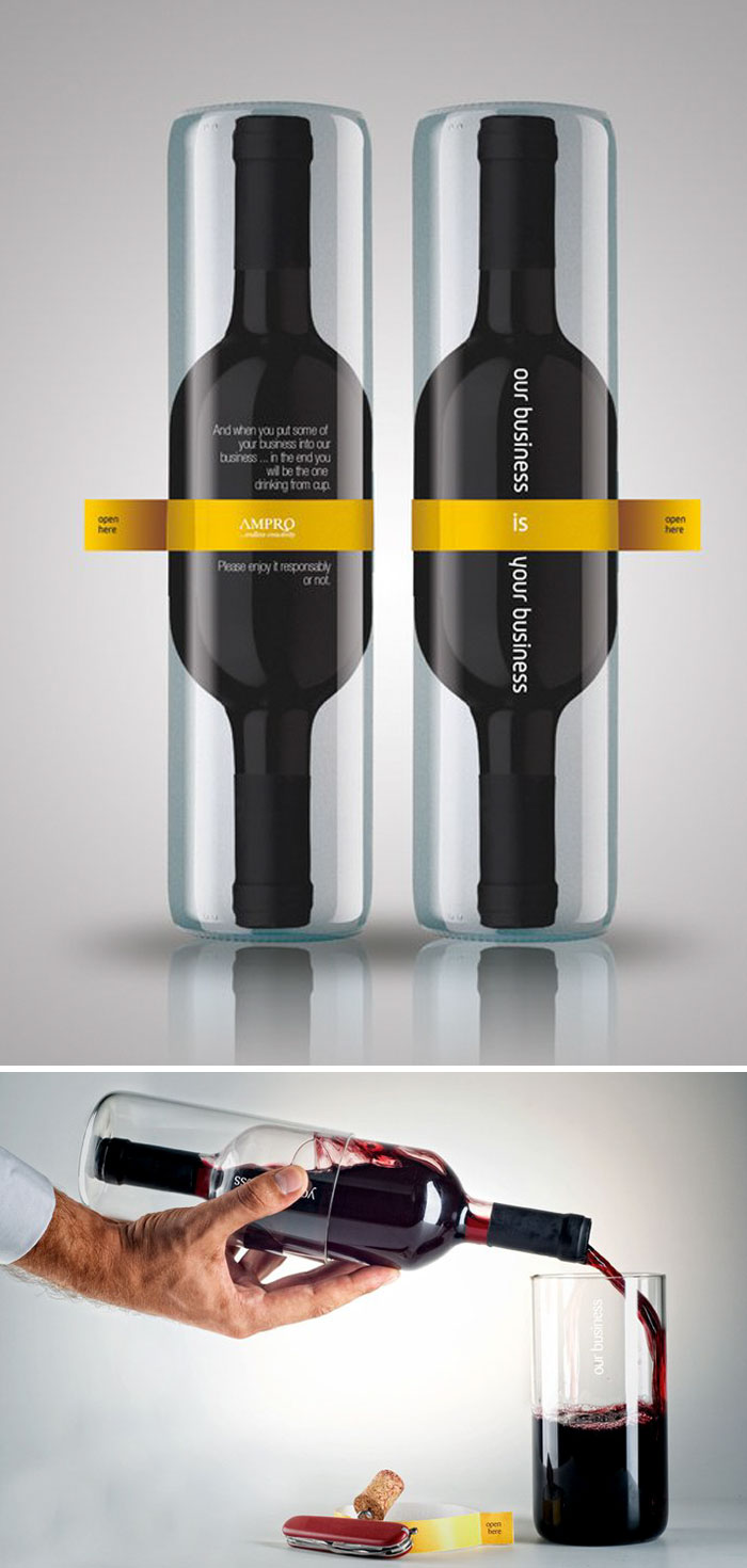 Wine Bottle Packaging That Creates Two Drinking Glasses