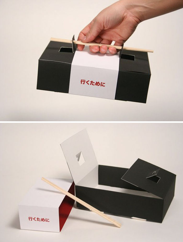 Sushi To-Go Box With Chopsticks Instead Of The Handle