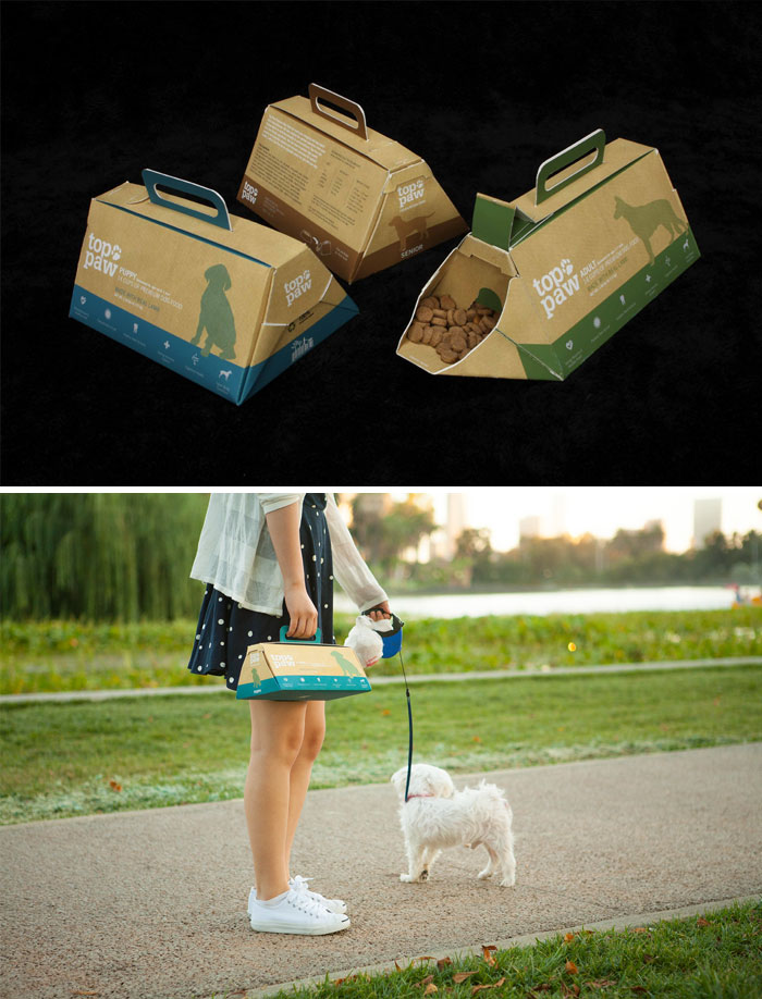 Portable Dog Food Packaging Which Provides A Limited Supply Of Food And A Food Bowl