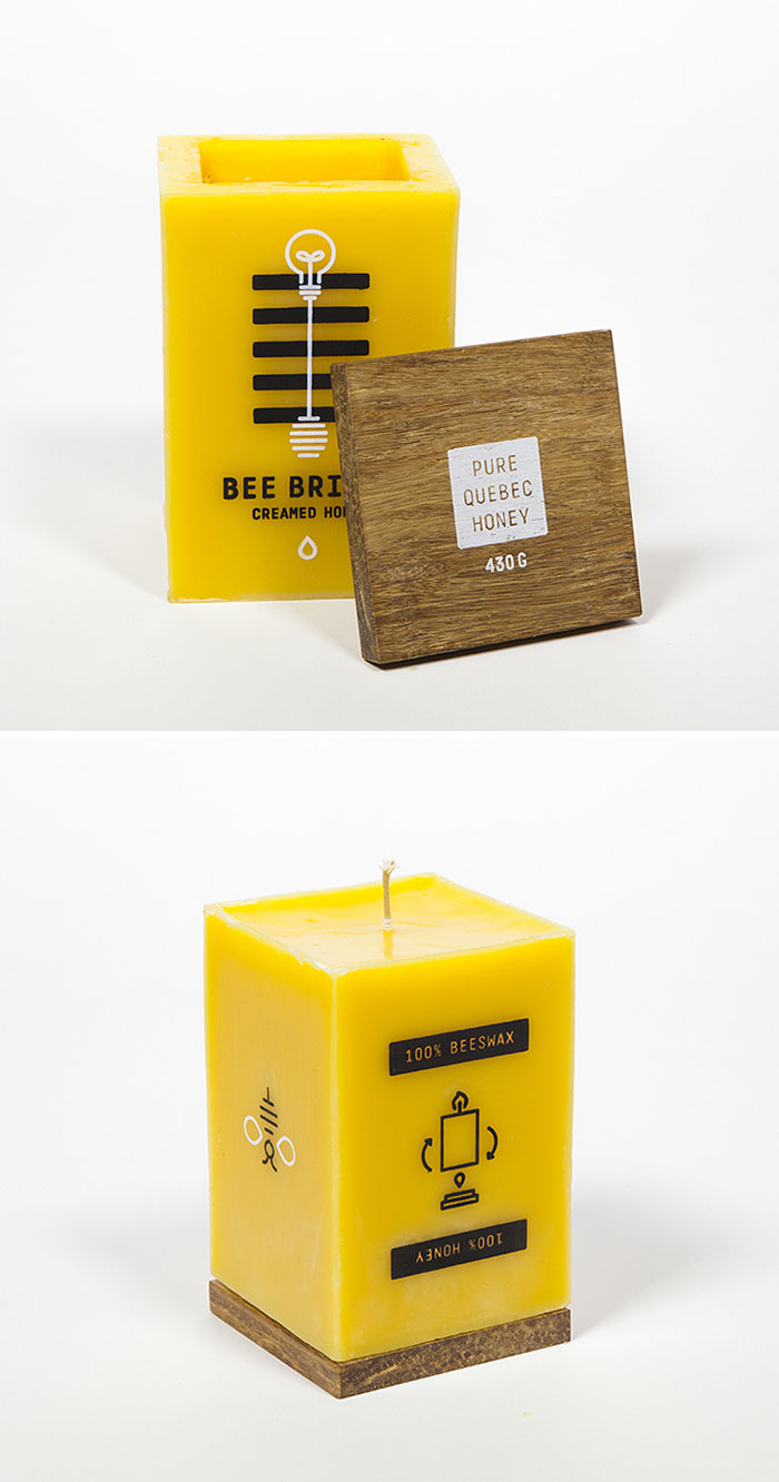 Honey Package Made Of Beeswax, Wich Can Be Burnt Down As A Candle, Making It Completely Waste Free