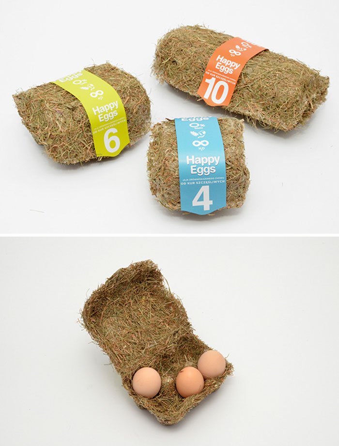 Sustainable Egg Boxes Made Of Hay That Is Heat-pressed Into Carton Shapes