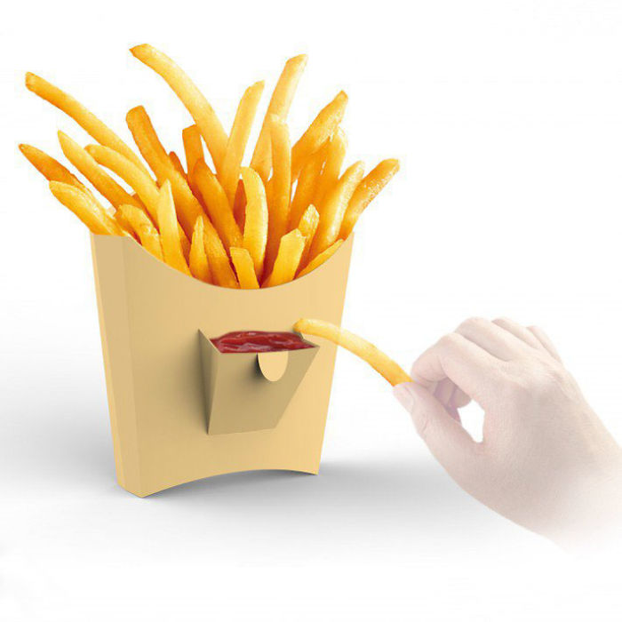 French Fries Box With A Pocket For Ketchup