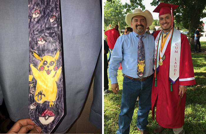 Son Makes Dad A Necktie In The First Grade, 11 Years Later Dad Wears It To His High School Graduation