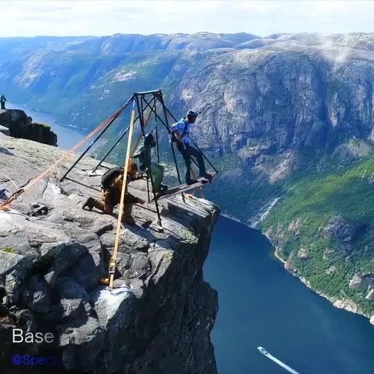 Base Jumping From Kjerag Cliff In Norway