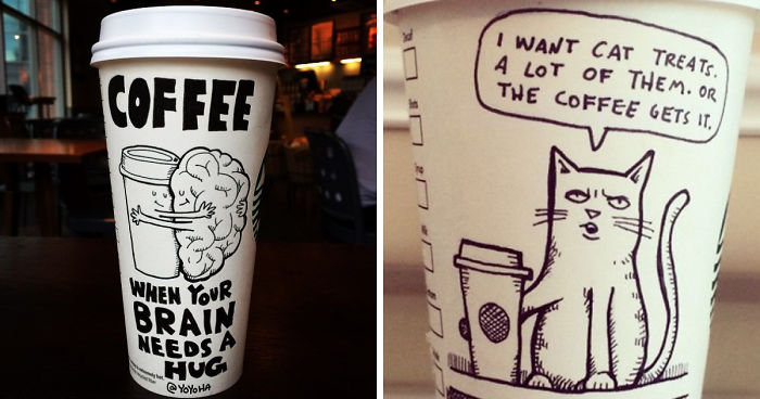 I Got Bored By Blank Coffee Cups, So I Started Drawing Comics On Them