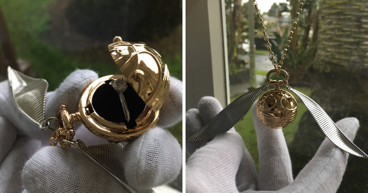 I Made A Golden Snitch Engagement Ring Box Bored Panda