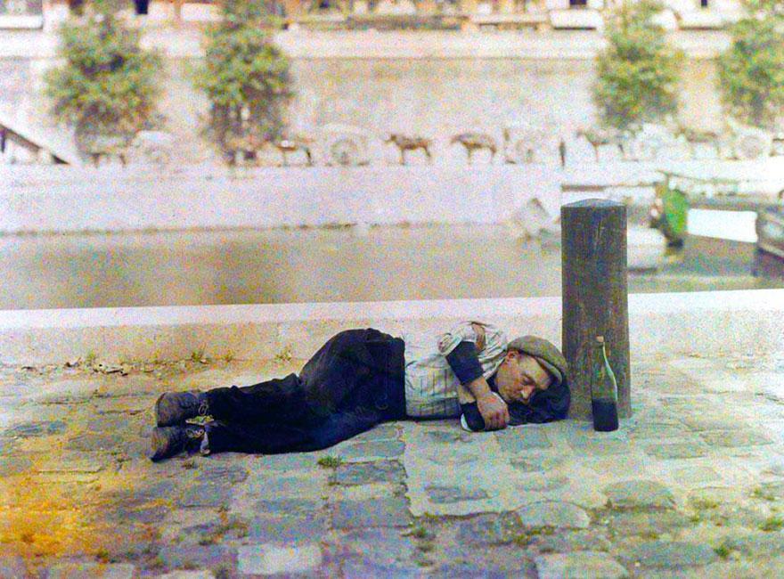 Drunk Man Sleeping On City Street, Paris, 1914