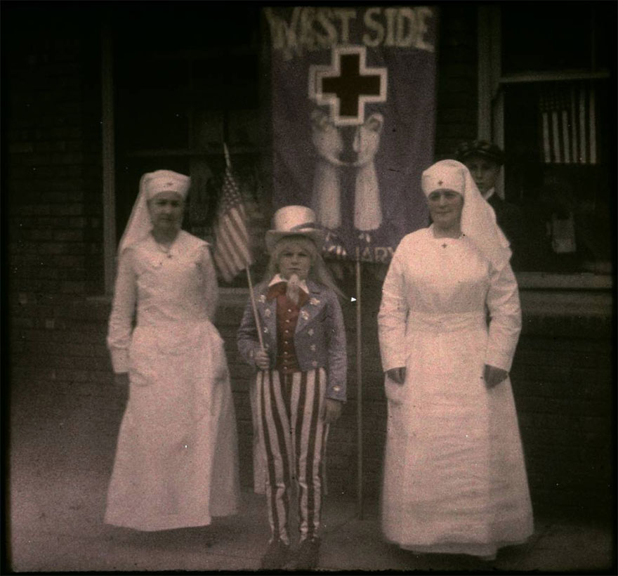 """Two Nurses And Child Dressed As """"Uncle Sam"""" In Wwi Support Parade, Pasadena California, 1917"""