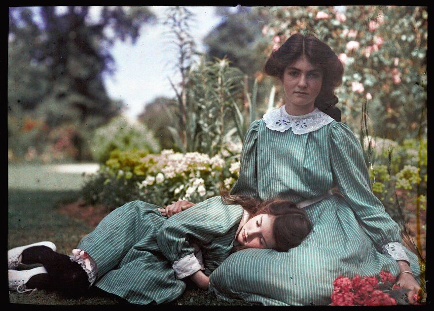An Autochrome Of Two Sisters, 1908