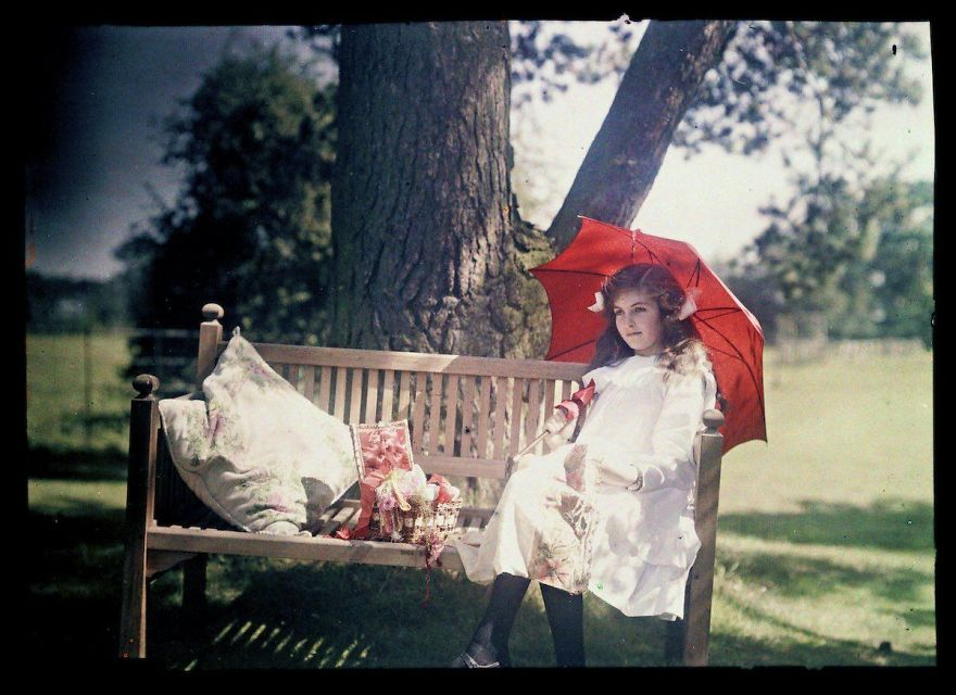 Girl With A Parasol Sitting On A Bench, 1908