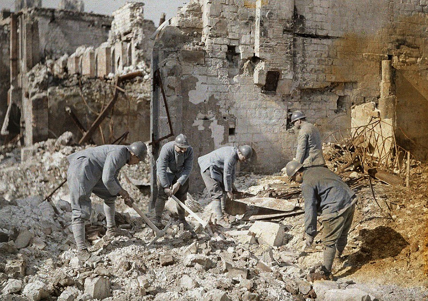 French Soldiers Dig Through The Rubble Of A Destroyed Building In Reims, France, 1917