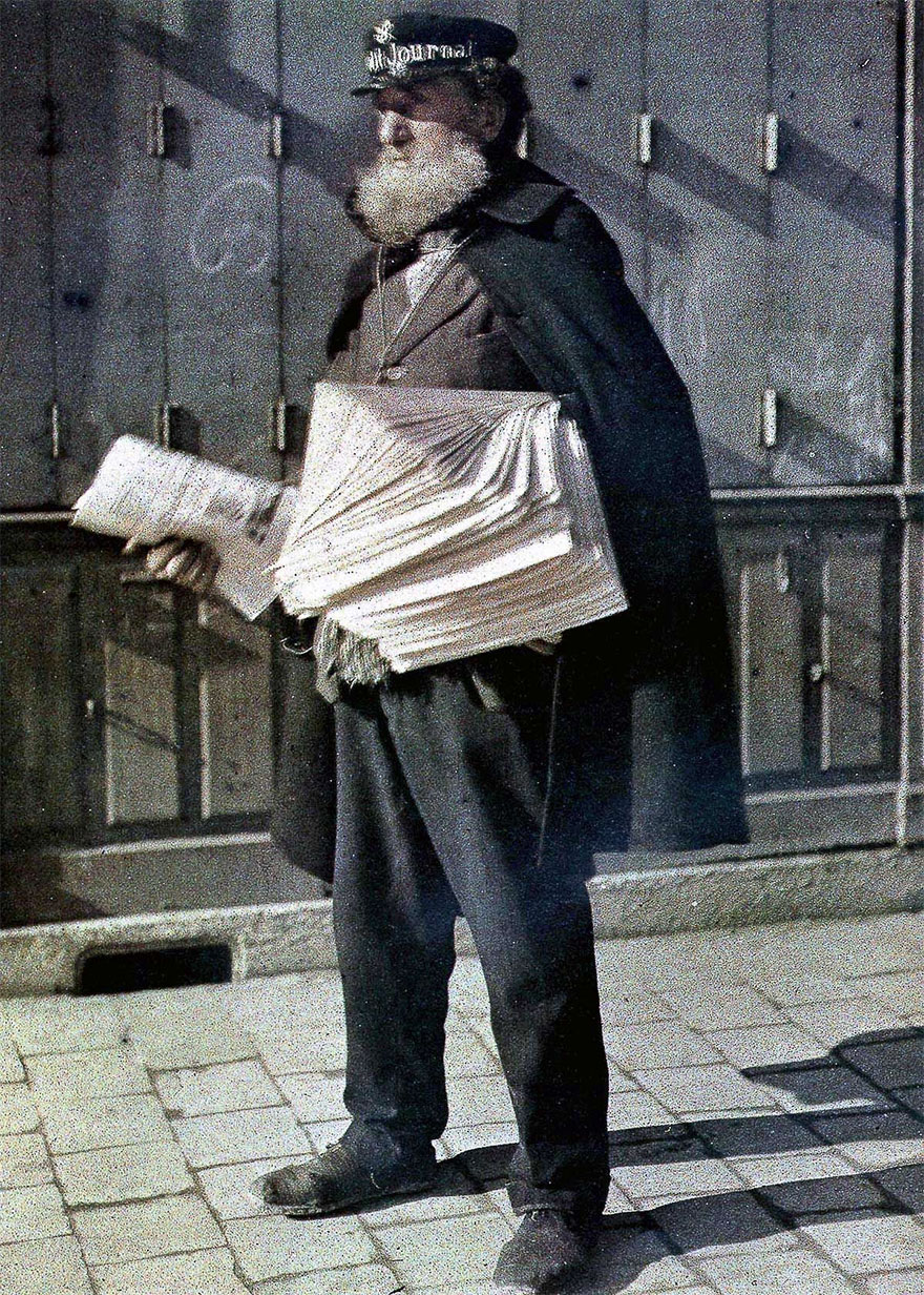 Newsvendor In Reims Streets, 1917