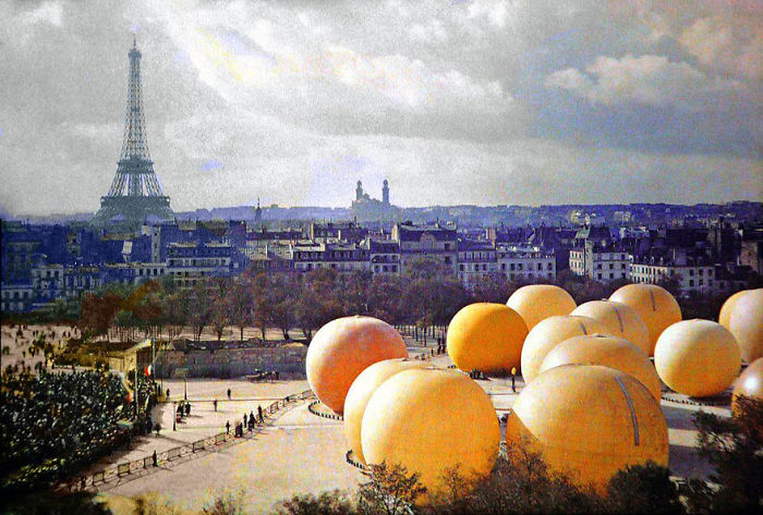Giant Oranges,paris, 1914