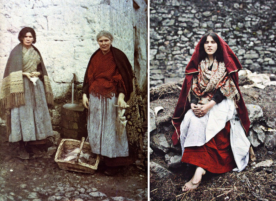 Traditional Irish Knitwear, An Spidéal, Galway, Ireland 1 May 1913 (Left), 14 Year Old Girl From The Claddagh Wearing Traditional Claddagh Dress. Galway, Ireland, 26th May 1913 (Right)