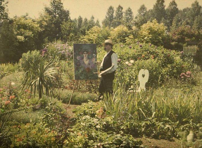 Van Besten Painting In His Garden, 1912