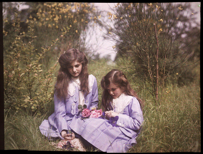 Sisters Sitting In A Garden Tying Roses Together, 1911