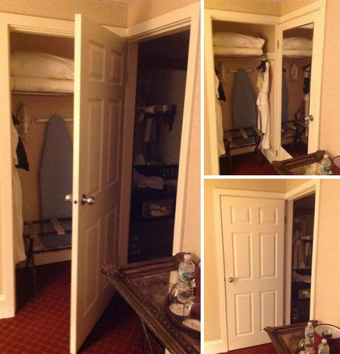 En esta habitación de hotel, o cierras el baño o el armario