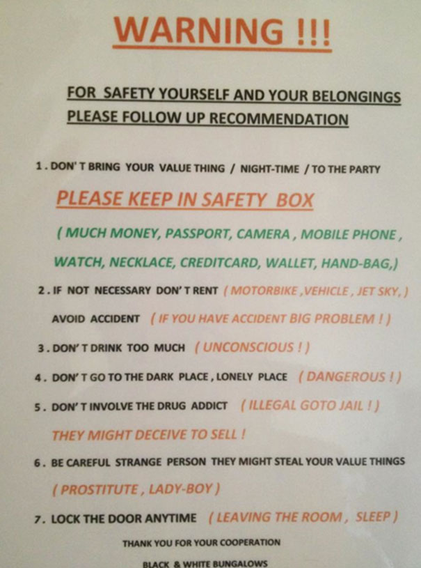 A Girl I Know Is Travelling In Indonesia... Her Hotel Gave Some Sage Advice