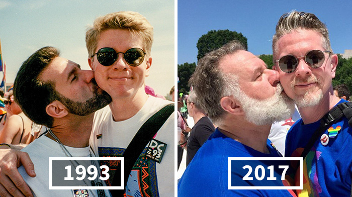 """Gay Couple Who Was Told Their Love Was """"Just A Phase"""" Recreates Their Pride Photo 25 Years Later"""