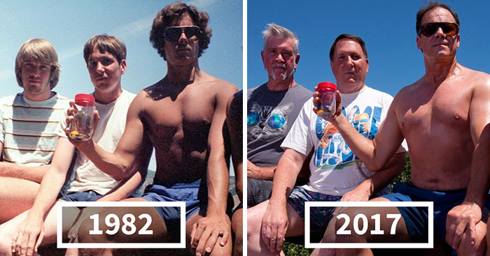 Five Friends Take Same Photo For 35 Years, And Go Viral Again In 2017 With Their Newest Pic