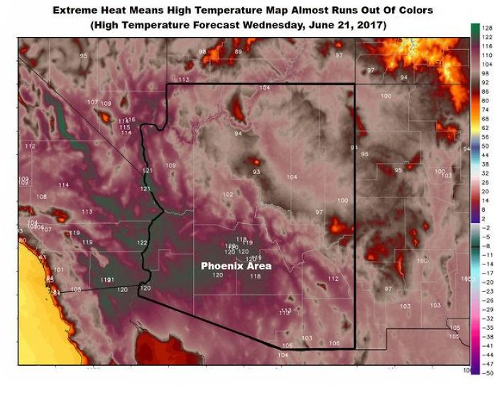 Arizona So Hot Weather Map Almost Runs Out Of Colors
