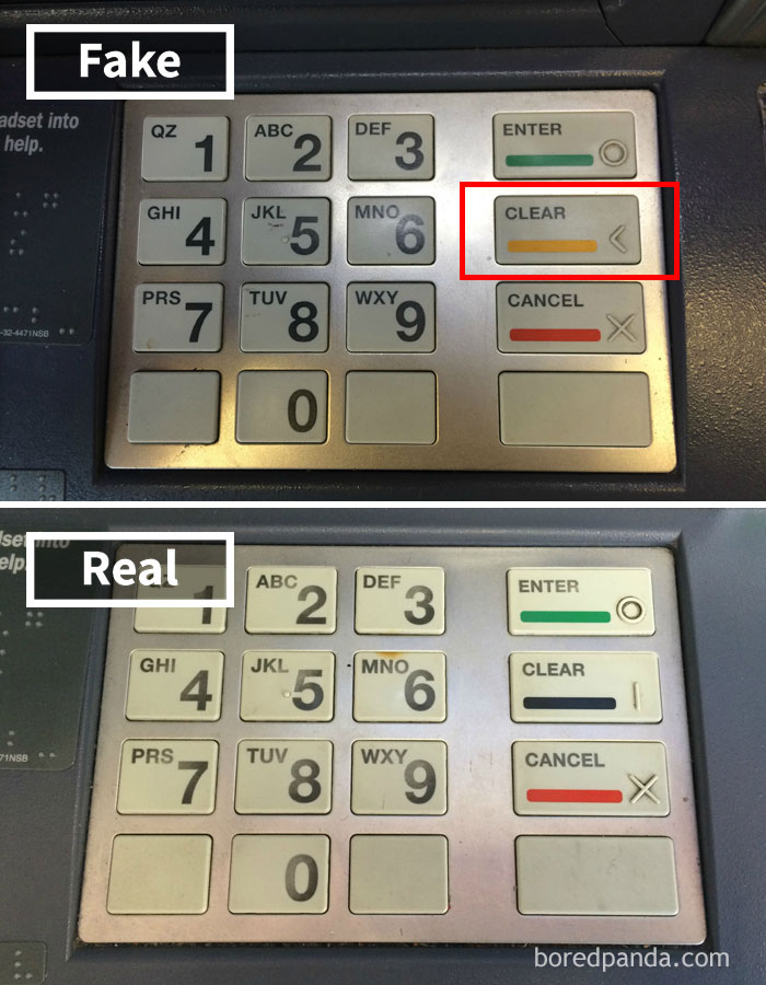 How To Spot An ATM Skimmer: Button Color Is Changed (This Particular ATM Had Black Button Before)