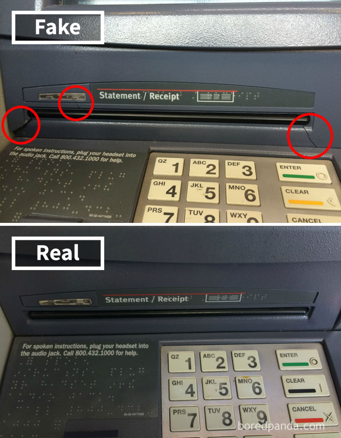 How To Spot An ATM Skimmer: Cracks Underneath The Receipt Slot