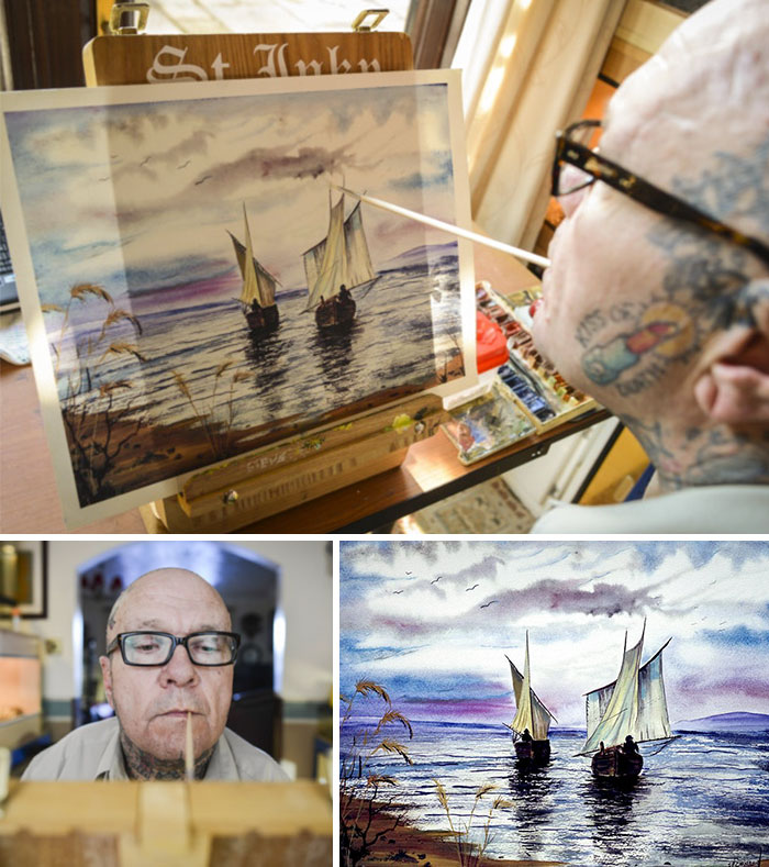 Steve Chambers Paints A Scene Of Two Boats By Holding A Paintbrush In His Mouth Because A Rare Condition Means He Was Born With His Arms Devoid Of Muscles