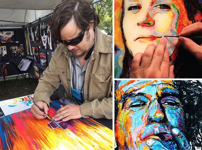 "John Bramblitt Is ""Functionally Blind"", Which Means That His Eyes Can Only Differentiate Between Sunlight And Darkness. Despite This, He Paints By Using Textured Paints To Feel His Way Around The Canvas"